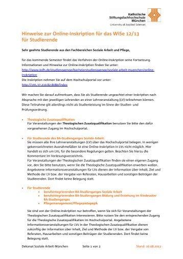 Hinweise zur Online-Inskription im SoSe 2008