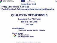 QUALITY IN VET-SCHOOLS