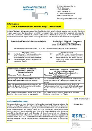 Berufskolleg 2 - Kaufmännische Schule  Göppingen