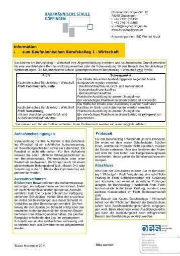 Info BK1.pub - Kaufmännische Schule  Göppingen