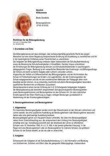 Richtlinien für die Bildungsberatung I. Grundsätze und Ziele Die ...