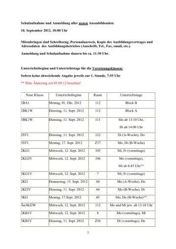 Homepage Anzeige Anmeldung Unterrichtsbeginn Vers.Kl.12-13 neu