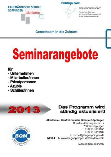 aktuellen Seminarangebote - Kaufmännische Schule  Göppingen