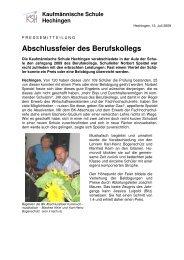 Abschlussfeier des Berufskollegs - kaufmännische Schule Hechingen