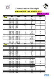 Aufsichtsplan KBS Sommer 2011 Stand - kaufmännische Schule ...