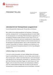 PRESSEMITTEILUNG - Kreissparkasse Biberach