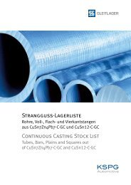 STRANGGUSS-LAGERLISTE CONTINUOUS CASTING STOCK LIST