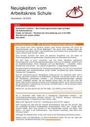Neuigkeiten vom Arbeitskreis Schule - Newsletter 10/2005 (PDF