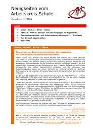 Neuigkeiten vom Arbeitskreis Schule - Newsletter 11/2005 (PDF