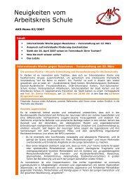 Neuigkeiten vom Arbeitskreis Schule - Newsletter 02/2007 (PDF