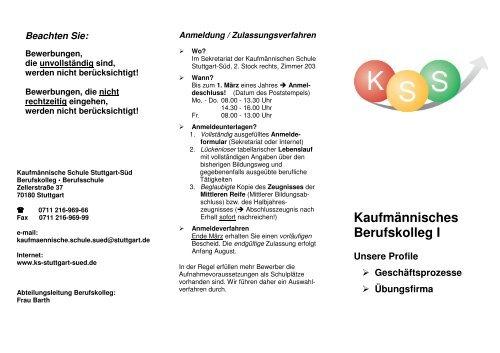 infoblatt bk i sj 12 13 kaufm nnische schule stuttgart s d. Black Bedroom Furniture Sets. Home Design Ideas