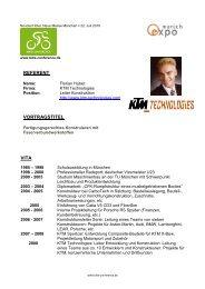 Infosheet Florian Huber - KTM Technologies