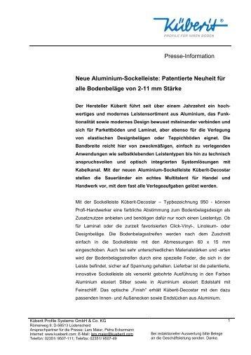 Küberit-Sockelleiste Decostar 950 - März 2012