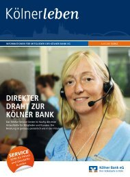 Direkter Draht zur kölner Bank - Kölner Bank eG