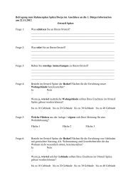 Befragung zum Rahmenplan Spitze/Dorpe im Anschluss an die 1