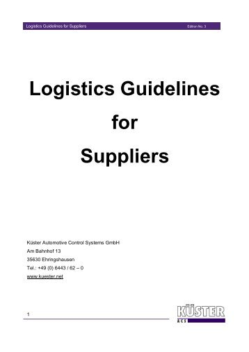 Logistic Requirements for Suppliers of the BMW Group