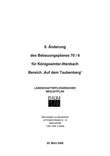 9. Änderung des Bebauungsplanes 70 / 6 für Königswinter-Ittenbach ...