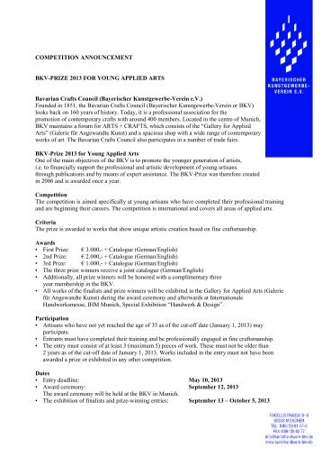 COMPETITION ANNOUNCEMENT BKV-PRIZE 2013 FOR YOUNG ...