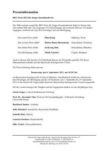 Presseinformation - Bayerischer Kunstgewerbeverein e.V.