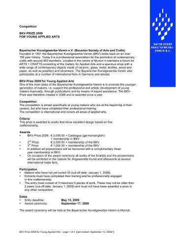 Competition BKV-PRIZE 2009 FOR YOUNG APPLIED ARTS Bayerischer ...