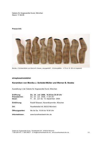 einspluseinsistdrei Keramiken von Monika J. Schödel-Müller und ...