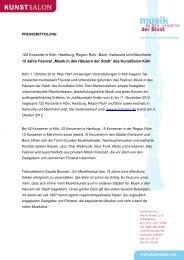 122 Konzerte in Köln, Hamburg, Region Ruhr, Bonn ... - KunstSalon