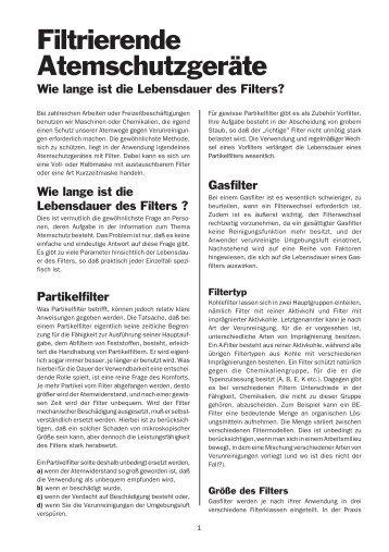 Filter-Lebensdauer - Kokott Berufskleidung