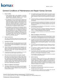 General Conditions of Maintenance and Repair ... - Komax Group