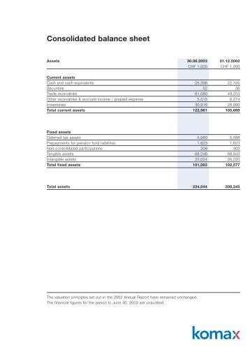 Half-year Report 2003 - Komax Group