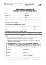 Meldeformular + Infoblatt - Gemeinsame Einrichtung KVG