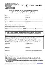 Gesuch um Befreiung + Infoblatt - Gemeinsame Einrichtung KVG