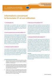 Informations concernant le formulaire S1 et son utilisation