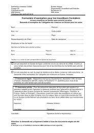 Formulaire d'exemption pour  les travailleurs frontaliers