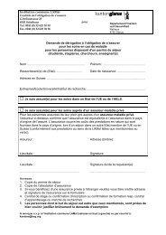 Demande d'exemption + feuille d'information