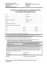 Formulaire de notification pour les travailleurs frontaliers