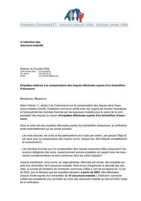 A l'attention des assureurs-maladie Soleure, le 23 juillet 2002 ...