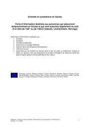 Entraide en prestations en Suisse Fiche d'information destinée aux ...