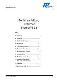 Betriebsanleitung Drehkreuz Type MPT 33