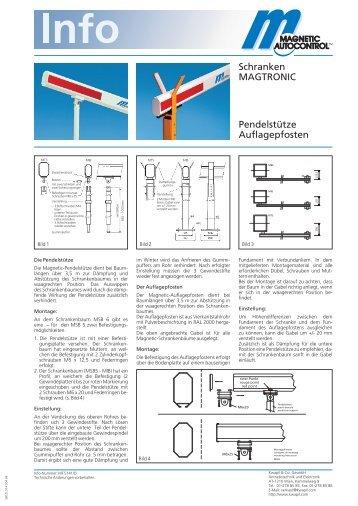 Schranken MAGTRONIC Pendelstütze Auflagepfosten - Kwapil & Co