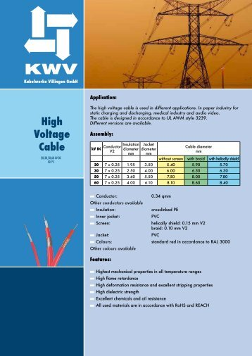 High Voltage Cable - KWV Kabelwerke Villingen GmbH
