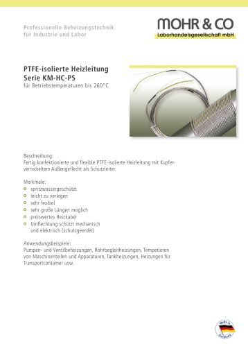 PTFE-isolierte Heizleitung Serie KM-HC-PS