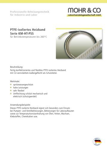 PTFE-isoliertes Heizband Serie KM-HT-PSS