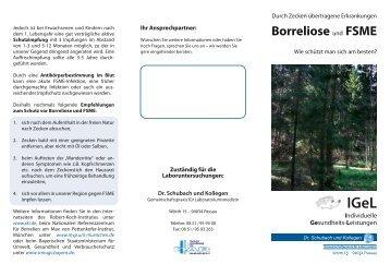 Zeckenstich - Borreliose und FSME - Labor Schubach