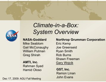 View presentation (PDF-3.4 MB) - Climate in a Box - Nasa