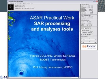 ASAR Practical 1: SAR Processing and Analyses Tools