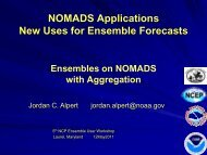 NOMADS Applications New Uses for Ensemble Forecasts