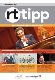 Veranstaltungen in Reutlingen November 2010 - Tourismus ...