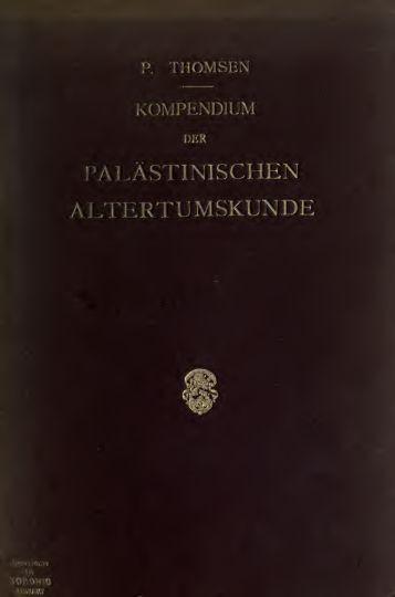 Kompendium der papästinischen Altertumskunde