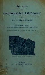 Das Alter der babylonischen Astronomie