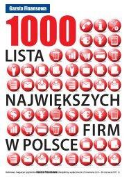 1000 największych firm w polsce - Gazeta Finansowa